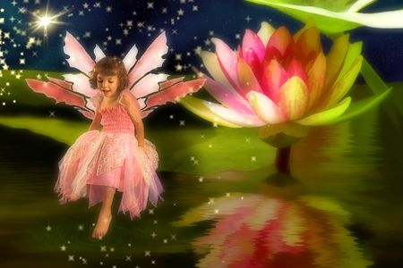 butterfly  angel: Little girl wearing a fairy dress sitting on a waterlily leaf Stock Photo