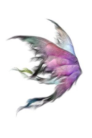 alas de angel: Par de alas de hada mullidas aisladas en blanco Foto de archivo