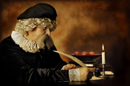 Lawyer or writer writing with a feather - both clothing and lighting are Rembrandt style