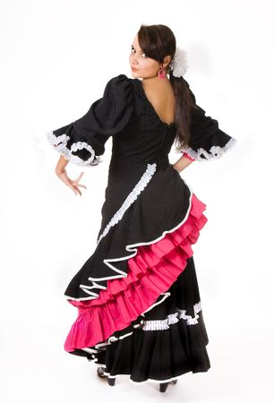 zigeunerin: Spanische Flamenco-T�nzerin in einem klassischen Pose
