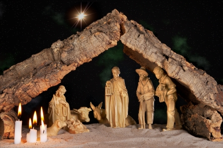 Old christmas manger under a starry night