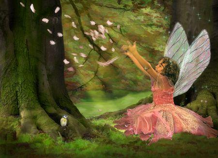 Kleines Mädchen gekleidet wie ein Märchen in den Wäldern
