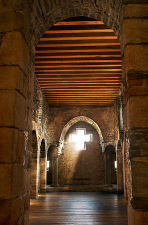 shafts: View in the chapel of the medieval castle in Ghent, Belgium