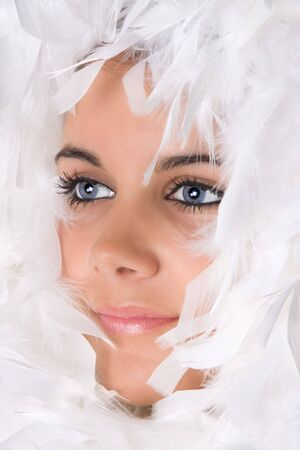 highkey: High-key portrait of an attractive young woman in snow feathers Stock Photo