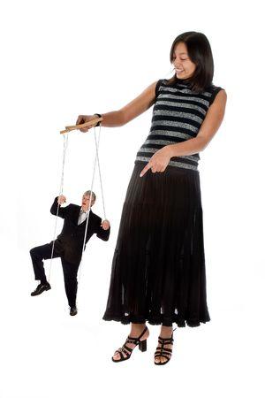pull toy: Joven empleado con su jefe de cuerdas Foto de archivo