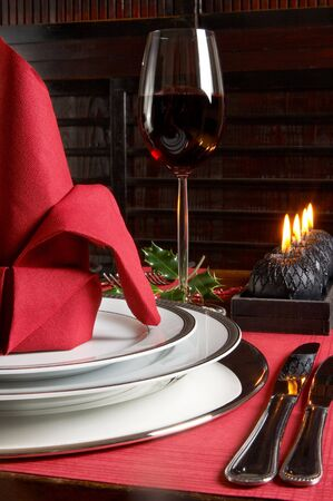 Decorated christmas table in red and black tones Stock Photo - 3865197