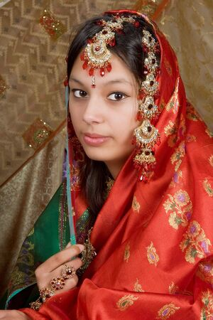 sari: Young Indian girl wearing the traditional saree