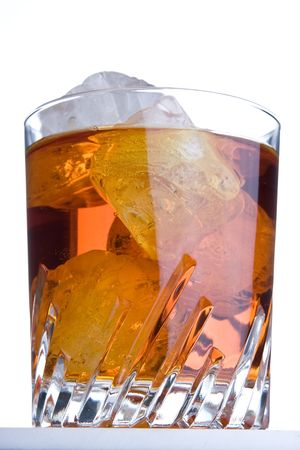 happyhour: Whisky glass with ice on the rocks
