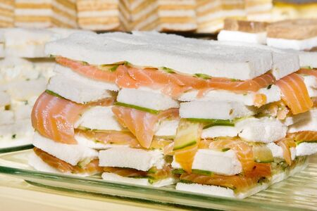 high tea: Delicious cucumber sandwiches for English high tea