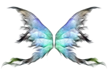 butterfly  angel: Pastel colored fairy wings isolated on white Stock Photo