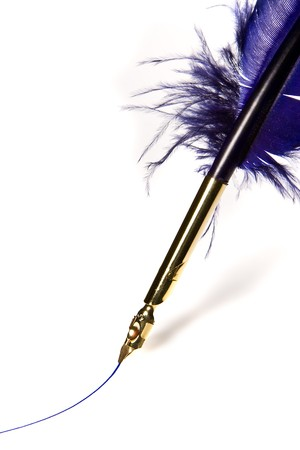 writers block: Quill feather with golden pen pulling a blue ink line