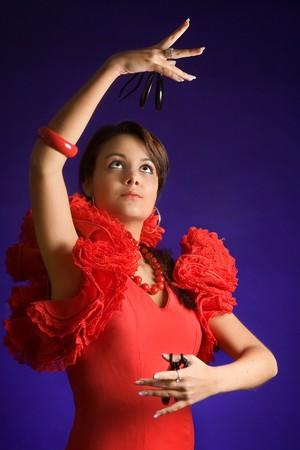 danseuse flamenco: Beautiful danseur de flamenco espagnol avec ses castagnettes Banque d'images