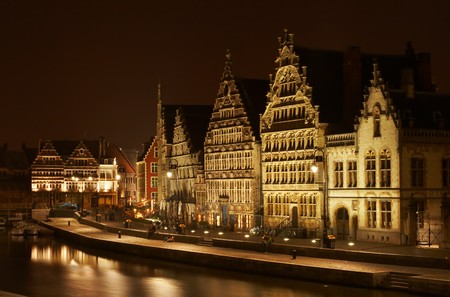 gables: Three beautiful medieval step-gabled guild-houses in Ghent, Belgium Stock Photo