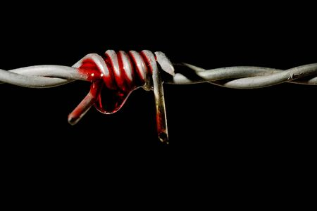 af: Blood on a barbed wire spike, symbol of torture and freedom
