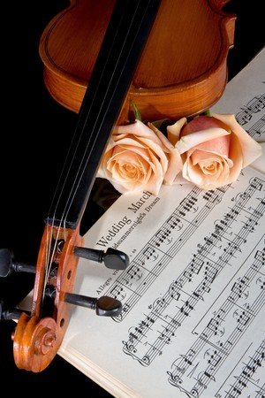 Sheet music of the Wedding March; with roses and violin photo