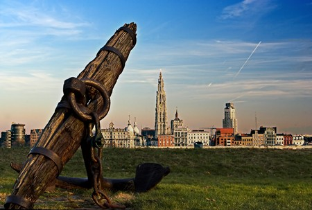 the other side: View on Antwerp skyline, from the other side of the river Scheldt Stock Photo