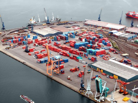 tons: Helicopter view on a container terminal in Antwerp harbor