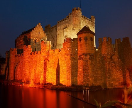 flanders: Night shot of the medieval fortress of the counts in Ghent, Flanders, Belgium