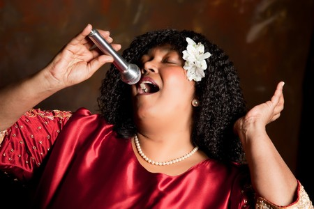 Negro spiritual gospel singer singing a hymn photo