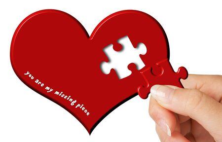 missing piece: San Valent�n con el deseo de una pieza que falta en un coraz�n rojo Foto de archivo