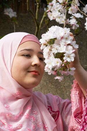 purdah: Young woman wearing a pink silk veil holding a pink blossom branch in springtime