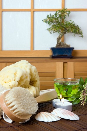 Spa bath products and green tea against a traditional japanese shoji sliding window Stock Photo - 4287431
