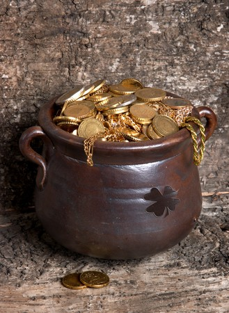 bucket of money: Rustic handmade pot of gold against a tree bark background