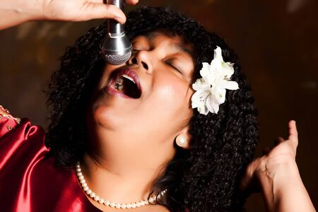 Negro spiritual gospel singer singing a hymn