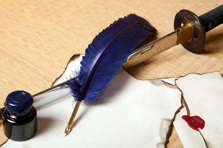 Feather and letter with a japanese sword