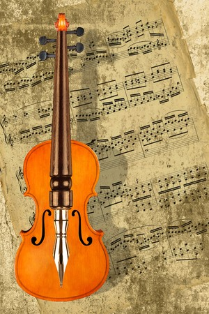 Combined image of a classical violin and a vintage pen photo
