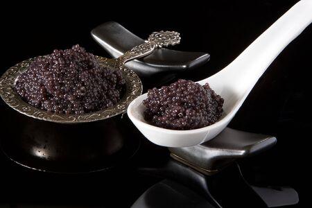 caviar: Romantic still-life of a caviar dish on ice Stock Photo