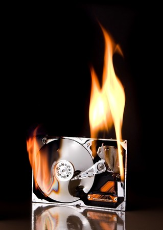 Opened external hard drive on fire - brand names have been removed