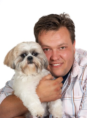shih: Portrait of a man and his little Shih-tzu dog