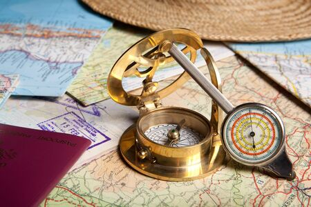 Tools and maps for planning a trip Stock Photo - 4610228