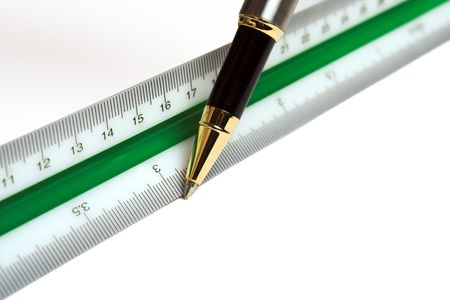 Drawing pen and ruler, used by architects and engineers photo