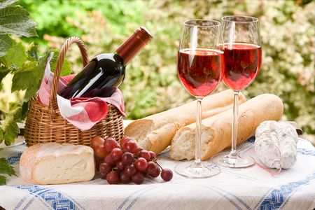 Country life setting with wine and fruit