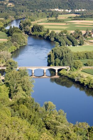 View on the Dordogne river (France, region Perigord) from the village Domme photo