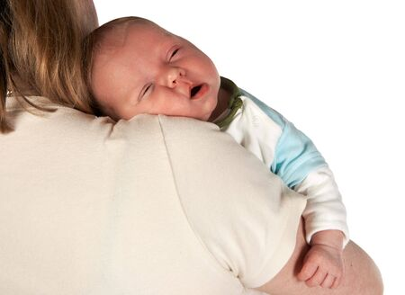Cute little baby of 15 days old on his mother's shoulder Stock Photo - 4720940
