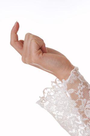 se�al de silencio: Mujeres en la mano de encaje manga atrayente con su dedo Foto de archivo