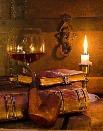 OLD LIBRARY: Good life, cognac, pipe and a good book