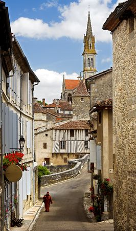 Village view in France, with church spire