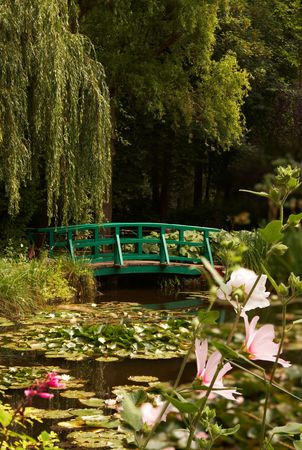 The garden of the famous painter Claude Monet, where he painted his water lilies photo