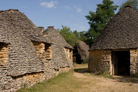 Prehistoric houses in the village of Breuil; France Stock Photo - 4869740