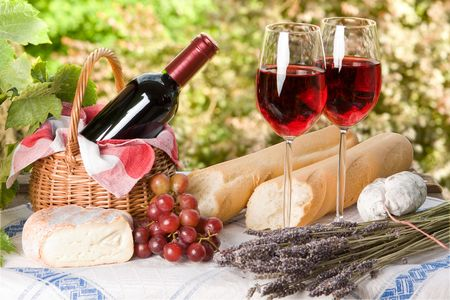 wine country: Romantic lunch setting with wine and food for two