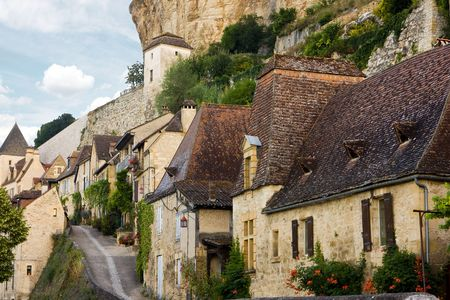picturesque: The lovely picturesque village Beynac in France, Perigord, Dordogne Stock Photo