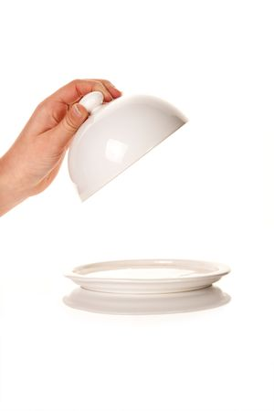 lid: Hand taking off a lid of an empty tray with copy space