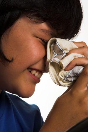 A boy with his handkerchief photo