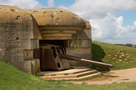 ii: Remains of a German bunker of World War II at Longues-sur-Mer, Normandy, France