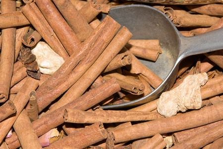 cinnimon: Large amount of cinamon sticks on a French market