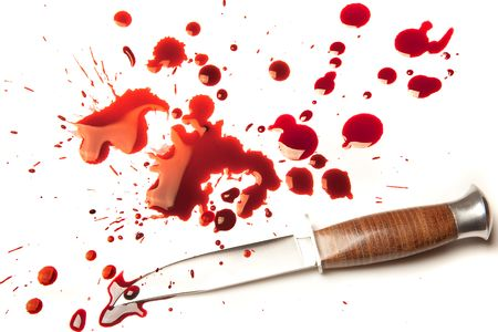 Isolated dagger with a splatter of red blood stains Stock Photo - 4967731